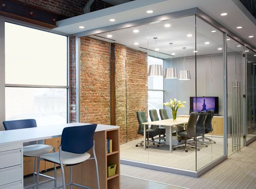 brick and glass meeting space brick office furniture