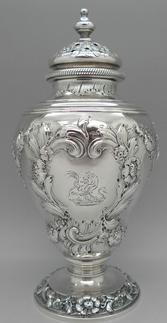 George Ii Period Sterling Silver Muffineer Or Sugar Castor