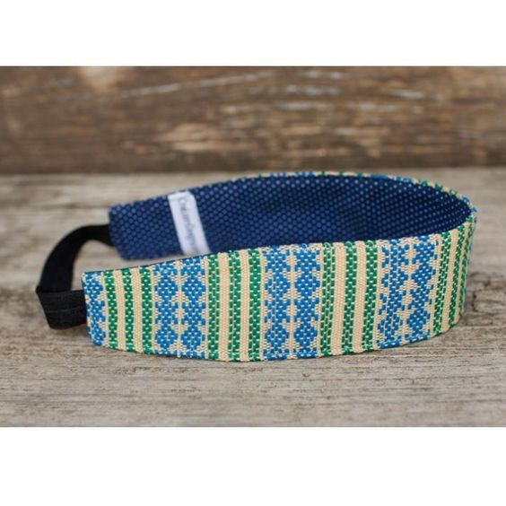 Beige and Blue X's & O's Lg headband made from handwoven Guatemalan fabrics.