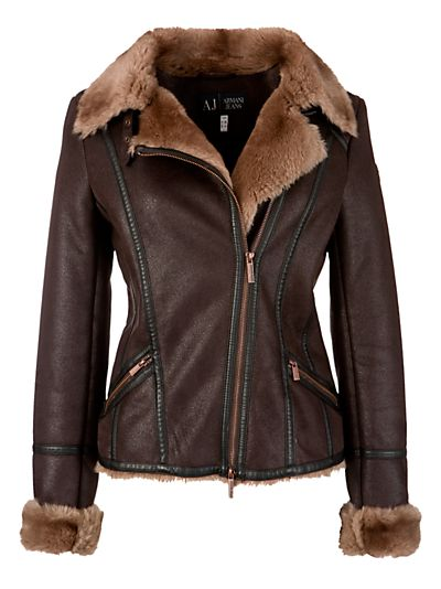 Buy Armani Jeans Shearling Aviator Jacket, Chocolate online at JohnLewis.com - John Lewis... great jean look this fall <3<3