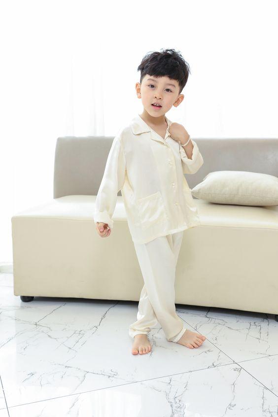 Classic Silk Pajama for Boys-Ivory