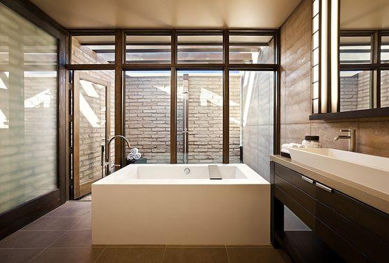 Amazing bathroom with outdoor shower.