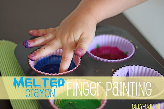 Melted crayon finger painting art activity