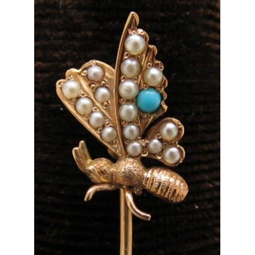Victorian 14k Turquoise Butterfly Stickpin