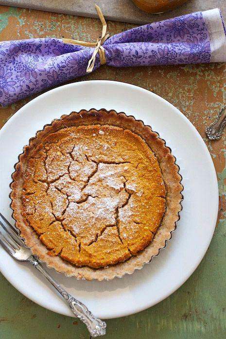 pumpkin pie tart with almond crust.