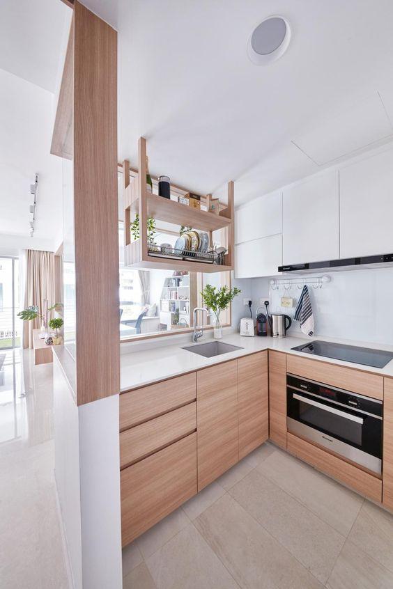 キッチン 床 ナチュラル 北欧 タイル ベージュ グレー コーディネート例