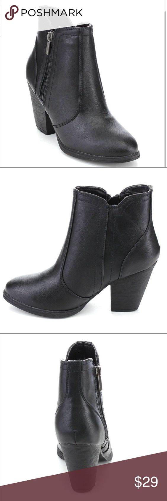 PERFECT! 🍁Love these Black ankle boots for fall🍁 Ladies size 8.5 US Dollhouse black leather look ankle boots. Outside zipper, fashionable styling and perfect with SOOOO many Autumn/ Winter outfits! Don't miss these! #wardrobeessentials 😘 xx Dollhouse Shoes Ankle Boots & Booties