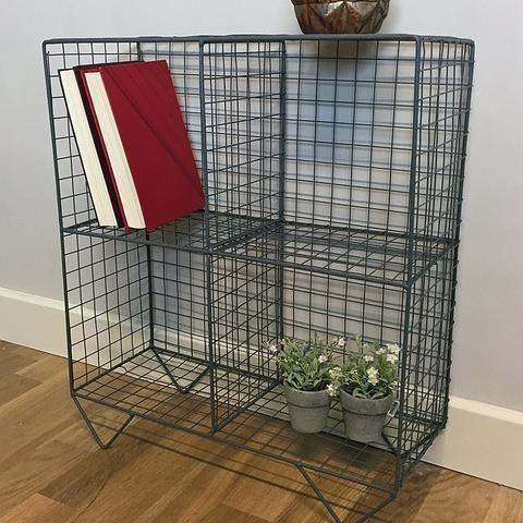 Wire 4 Hole Shelf Unit Charcoal Grey