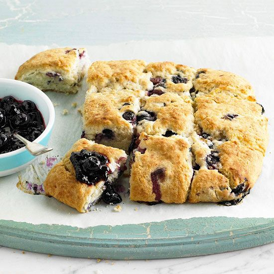 Yum! Blueberry Cream Biscuits with Blueberry Sauce. Recipe: http://www.bhg.com/recipe/blueberry-cream-biscuits-with-blueberry-sauce/