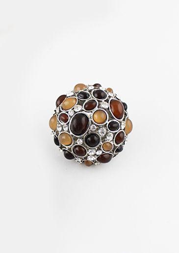 Anillo plateado cristales piedra marrón EUR€5.07