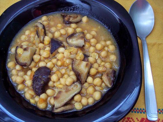 Garbanzos con shiitake