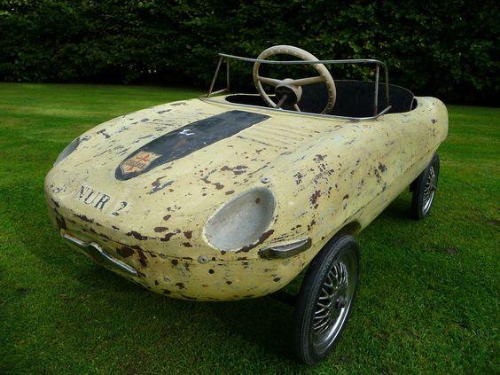 Rare 1960s Tri Ang E Type Jaguar Pedal Car Barn Find
