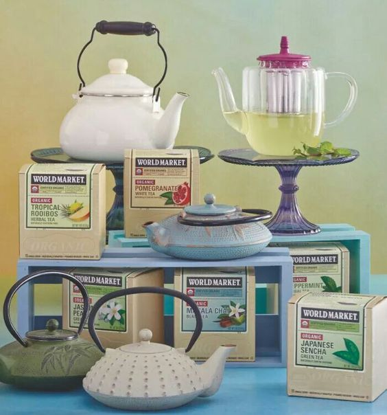 World Market tea and teapots. Great Mother's Day gifts.