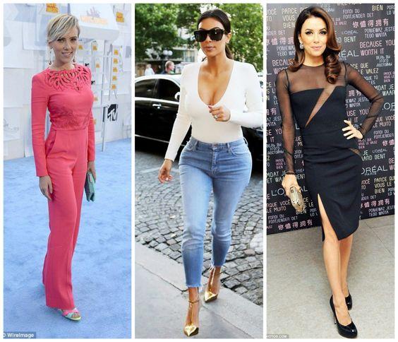 Celebrities with the hourglass figure. Eva Longoria, Kim Kardashian and Scarlett Johansson. Learn how to dress your hourglass shape figure >>> http://justbestylish.com/how-to-dress-the-hourglass-figure/2/