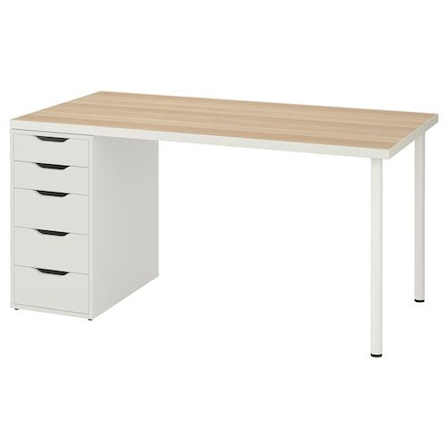 Linnmon Alex Table Blanc 200x60 Cm Ikea In 2020 Ikea Ikea Desk Linnmon Table Top