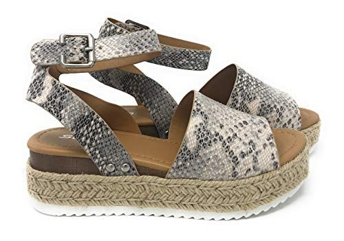 womens casual espadrilles trim rubber sole flatform studded wedge buckle ankle strap open toe sandals