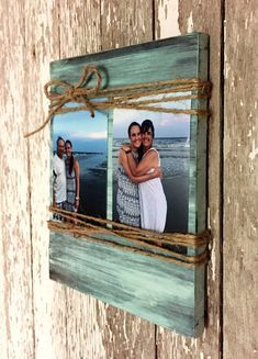 Custom Wood Picture Frame Dimensions: Length: 9 inches Height: 11 inches Width: 0.75 inches This handmade sign is made out of select pine and finished off however you choose. The picture is distressed teal. For $5 extra you can add up to 3 words to the bottom of this. Just message me what you would like it to say when you order. It holds up to two 4x6 pictures. This sign will come ready to hang with a sawtooth picture hanger on the back. This sign is hand sanded, stained, and painted just fo...