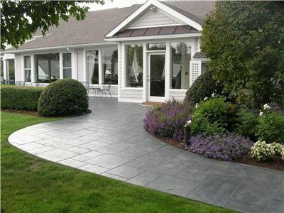 Stamped Front Walkway Concrete Walkways Designs In