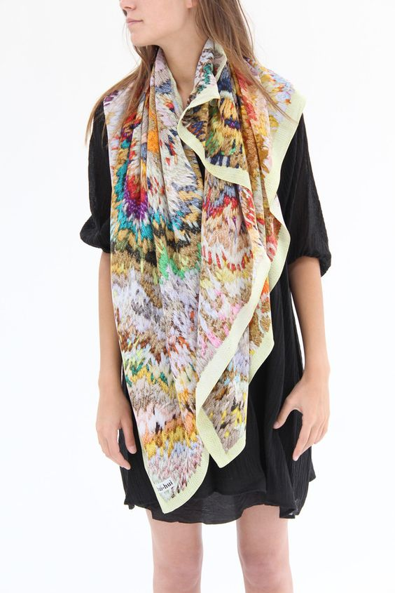 Hui Hui Scarf Tumbleweed Embroidery Colorful – Beklina
