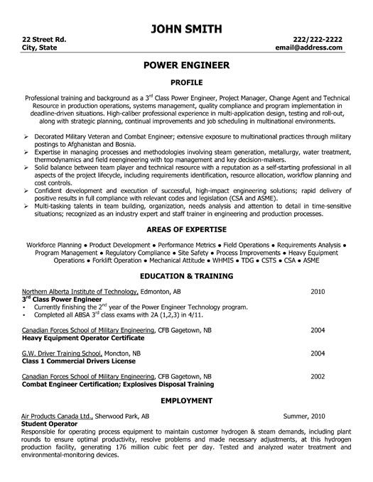 click here to this power engineer resume template