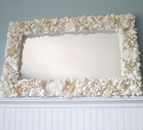 Beach Decor White Seashell Mirror Nautical Shell Mirror All White Rectangular W Starfish