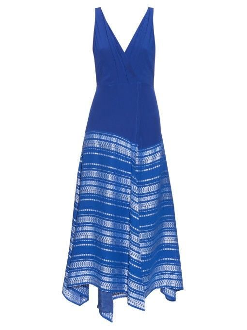 A traditional Greek silhouette and modern detail meet with Zeus + Dione's electric-blue silk-crepe Balos dress. It has a figure-hugging wrap top that's defined by the pleated V-neck and back and nipped-in waist, and a loose asymmetric skirt that's embroidered with white geometric-jacquard motifs. A pair of white sandals will perfectly complement the look. | Available at MATCHESFASHION.COM