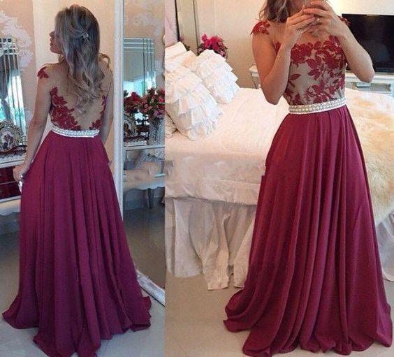 Sexy Long Chiffon Prom Dresses Appl - Long prom dresses- Sleeve ...