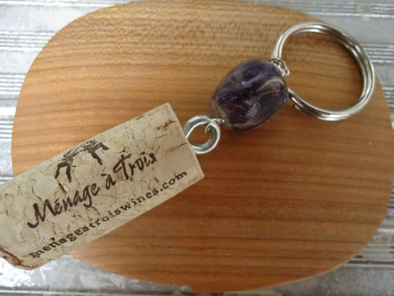 Wine Cork Key Chain with Purple Stone by ConversationGlass on Etsy, $7.00