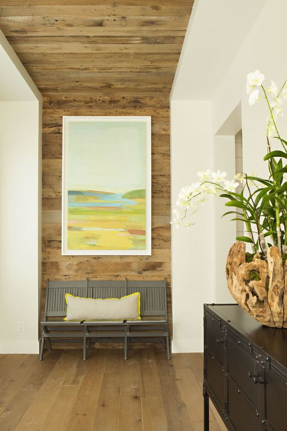 natural wood niche with bench - also love pop of color on pillow edge grabbed from painting