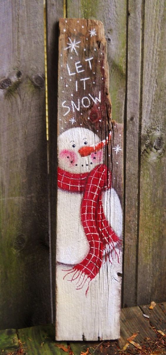 Primitive snowman barn wood let it snow 39 folk art at for How to paint snowmen