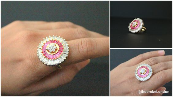 Bollywood indian big thick finger ring adjustable pink traditional ethnic classy high quality