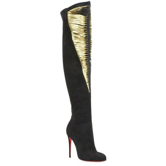 Christian Louboutin Siegfridalta Suede & Metallic Leather Boots ($2,605) ❤ liked on Polyvore featuring shoes, boots, apparel & accessories, side zipper boots, suede boots, genuine leather boots, tall suede boots and suede knee high boots