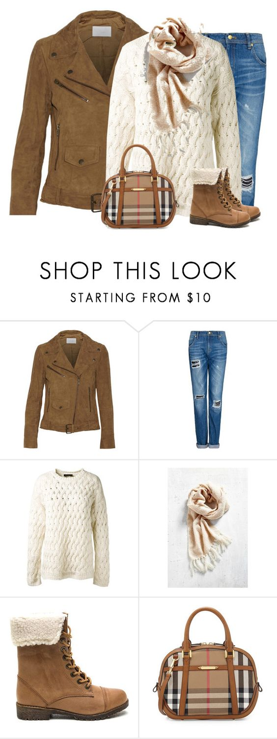 """Brown and beige"" by lenaick ❤ liked on Polyvore featuring W118 by Walter Baker, MANGO, The Row and Burberry"