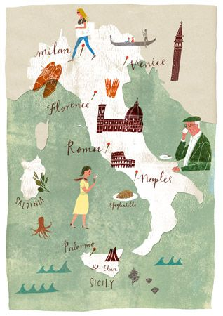 Some of my favorite places in the world...still need to experience Sardinia & Palermo to get all of the cities on this map...a girl's gotta have goals :)  Italy | Masako Kubo illustration