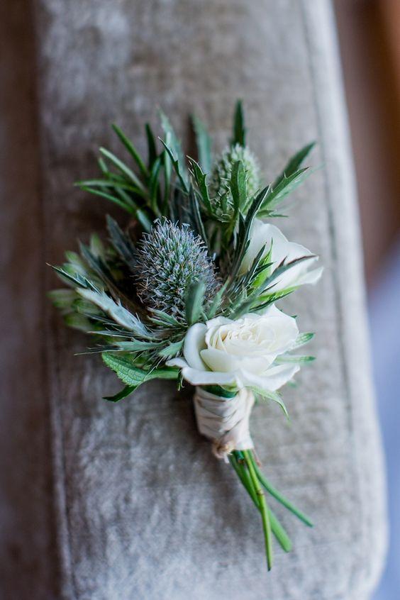 Blue & Green Wedding Thistle Buttonhole http://www.katherineashdown.co.uk/