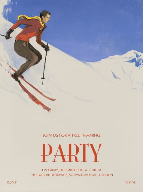 Après-ski by Paperless Post. Send custom online holiday party invitations with our easy-to-use design tools and RSVP tracking. View more holiday invitations on paperlesspost.com.  #apres #hill #mountain #scarf #ski