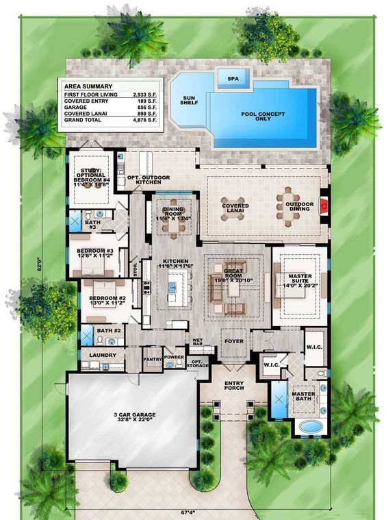 Plan 86027bw Florida Living With Wonderful Outdoor Space Florida House Plans Mediterranean Style House Plans Mediterranean House Plans