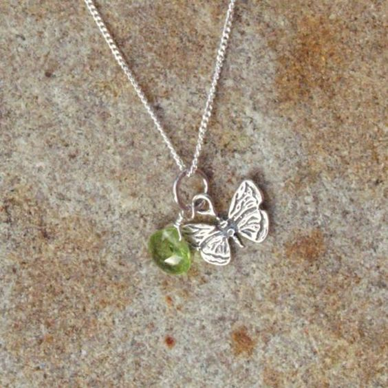 Pretty Butterfly with Sparkling Peridot Charm by BrownEyedGirlSB, $20.00