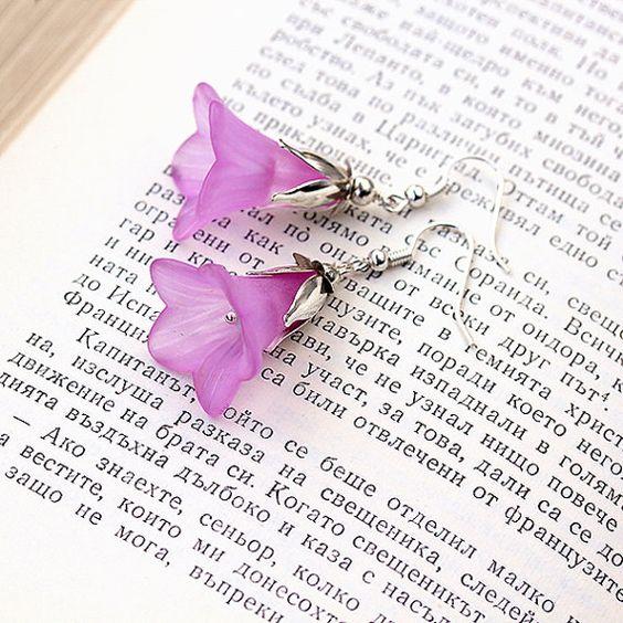 Romantic Lily Earrings, Lucite Earrings, Bridesmaid Earrings, Bridesmaid Gift, Lucite Jewelry, Pink Earrings, Romantic Jewelry, Silver