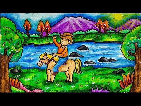 Cara Menggambar Kuda Poni Dengan Pemandangan Pegunungan Youtube Phong Cảnh đồ Mỹ Nghệ Tự Lam