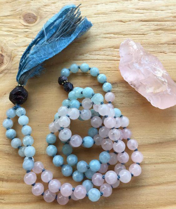 fashion mala beads rose quartz aquamarine and raw garnet