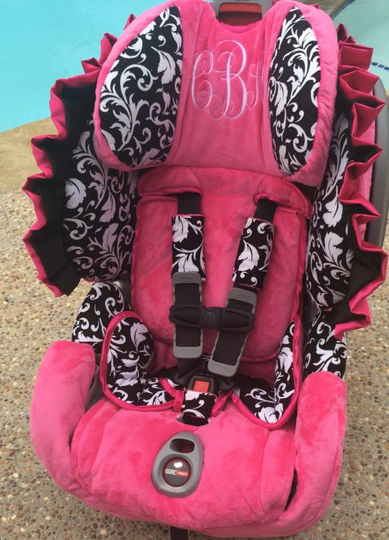 Toddler Car Seat Cover - Black and White Damask and Hot Pink