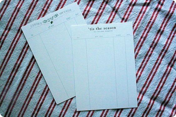 gift list printable