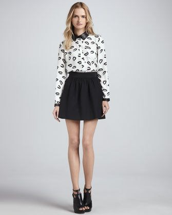 #Neiman Marcus            #Skirt                    #Printed #Blouse #with #Leather #Trim #Gathered #Crepe #Skirt                 Printed Blouse with Leather Trim & Gathered Crepe Skirt                                                 http://www.seapai.com/product.aspx?PID=560178