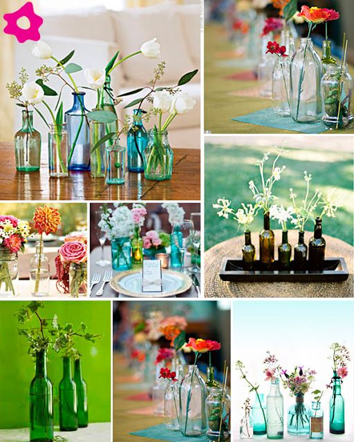 Vasos ou Garrafas? Faça você mesmo Lindos Arranjos de Mesa com Garrafas de Vidro   Recicla Design Brasil