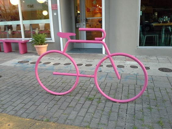 Bicycle racks like the one in this photo have been installed in various places around Santurce, reflecting the increased use of bicycles.