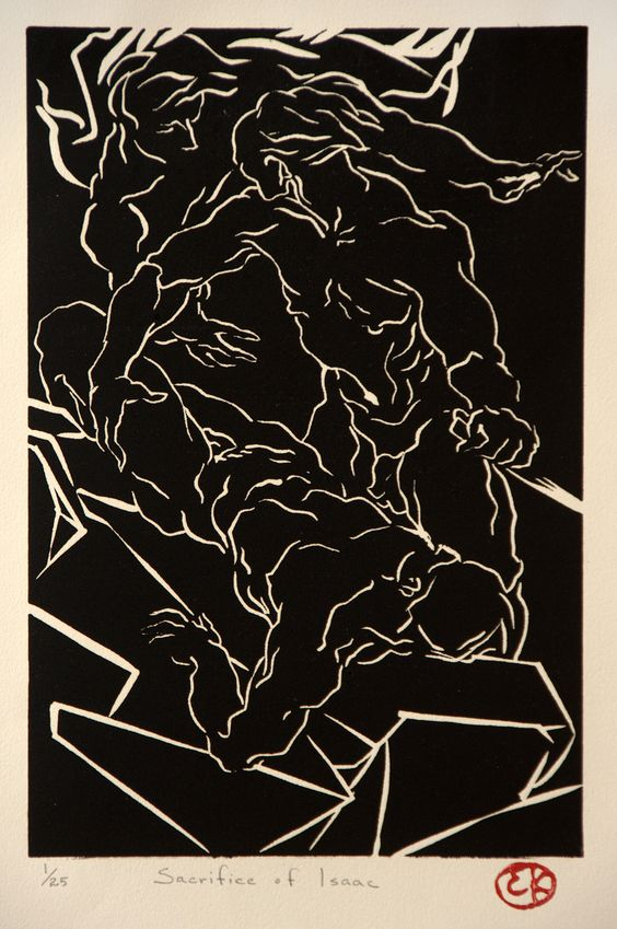 """Edward Knippers The Sacrifice of Isaac - linocut - 12"""" X 8"""" - 1989 - $300"""