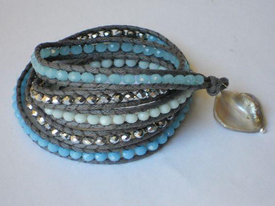 BRACCIALETTO CHAN LUU STYLE CRISTALLO AZZURRO argento (perla estate 2014 portafortuna wrap bracelet) : Braccialetti di perlinachic