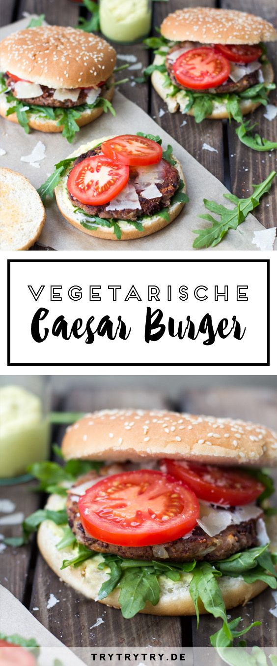 Vegetarischer Caesar-Burger mit Kidneybohnen-Patties. Ein leckeres vegetarisches Rezept!