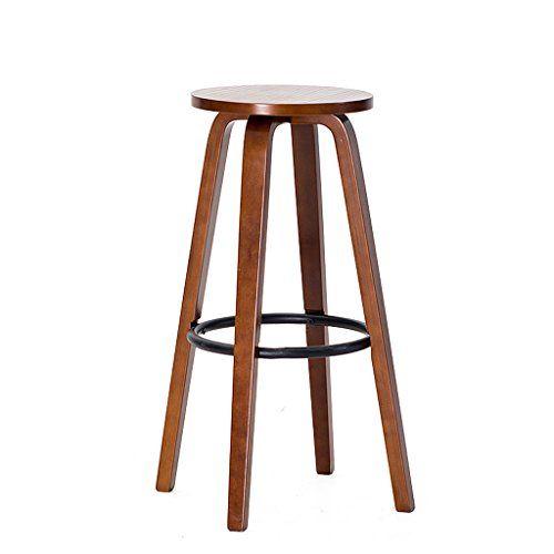 Zhen Guo Modern Wooden Round Bar Stool With Iron Footrest Wood